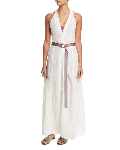 Sleeveless Button-Front Swim Coverup Dress