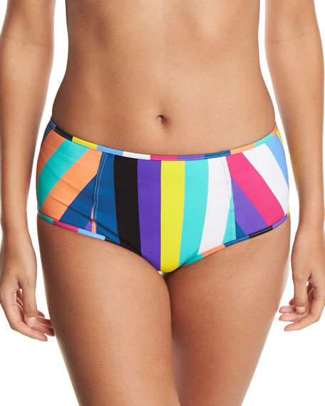 Diane von Furstenberg High-Waist Striped Swim Bikini Bottoms