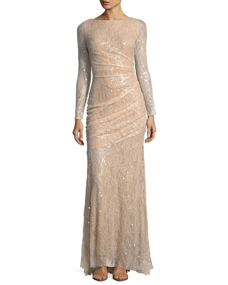 Carmen Marc Valvo Long-Sleeve Lace Sequin Evening Gown