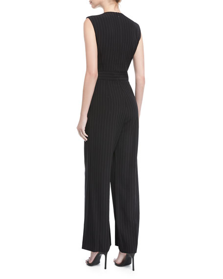 Pinstriped Sleeveless Jumpsuit