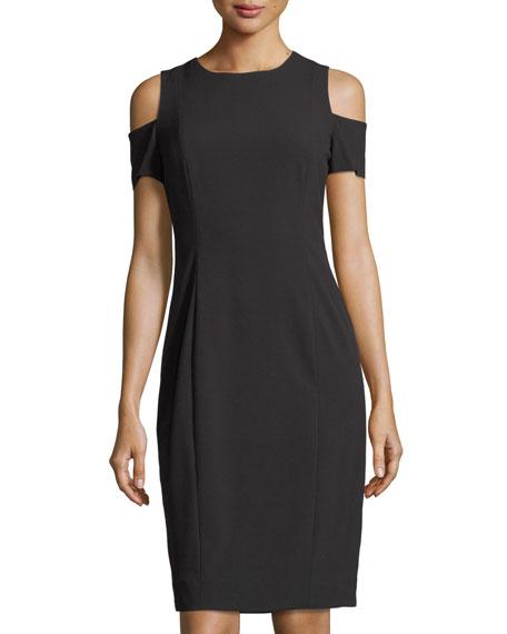 Tahari ASL Cold-Shoulder Crepe Sheath Dress
