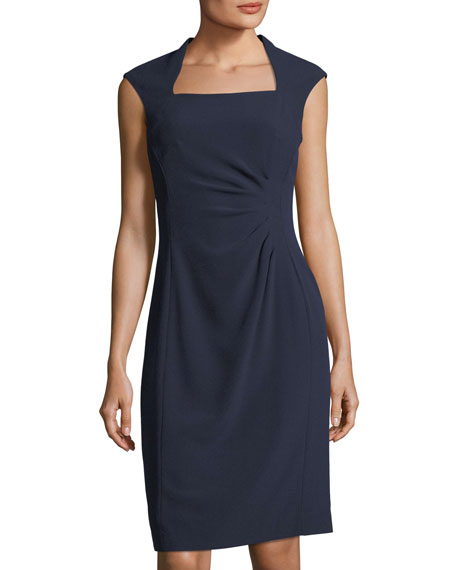 Side-Ruched Crepe Dress