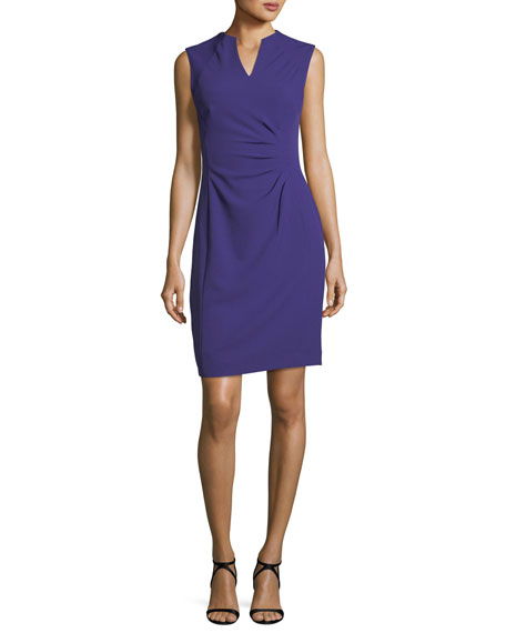 Split-Neck Side-Ruched Dress