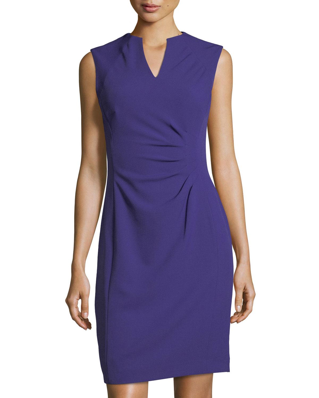 4b9d542e3e2a Tahari ASL Split-Neck Side-Ruched Dress | Neiman Marcus