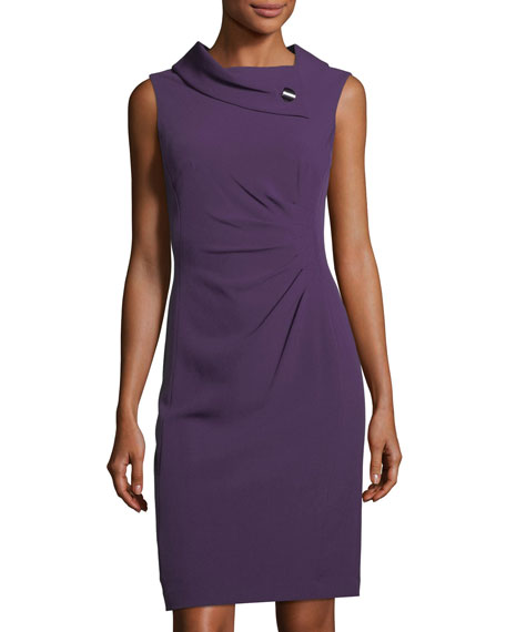 Fold-Collar Side-Ruched Dress