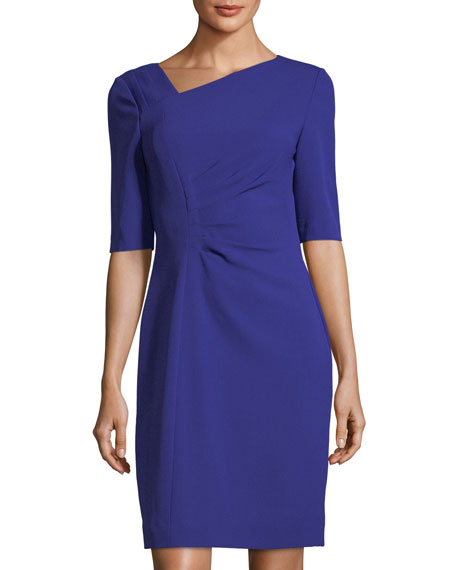 Asymmetric-Neck Side-Ruched Dress