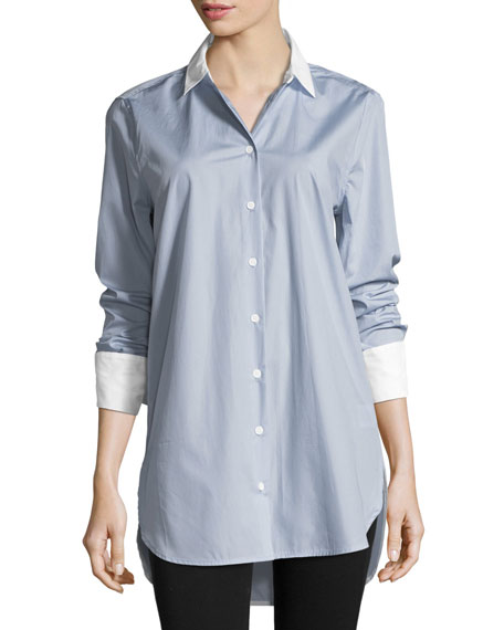 Equipment Arlette Button-Front French-Cuff Poplin Shirt