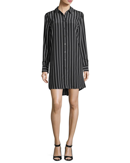 Equipment Carmine Striped Button-Front Silk Shirtdress