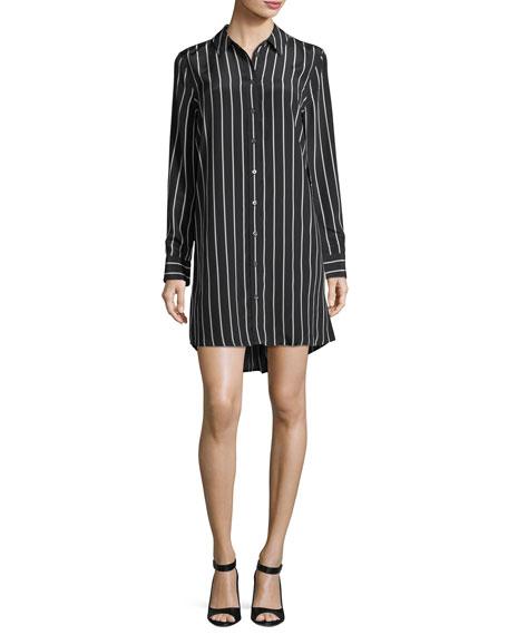 Equipment Carmine Striped Button-Front Silk Shirtdress