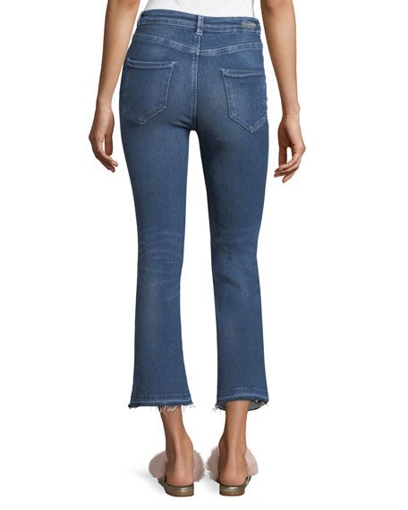 Phoebe Mid-Rise Cropped Mini Boot-Cut Jeans