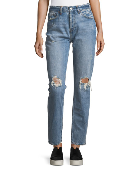 Acynetic Olivia Mid-Rise Straight-Leg Distressed Jeans