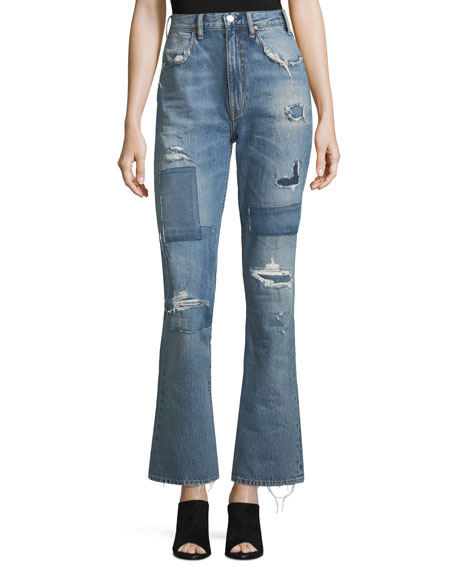 Acynetic Stella High-Waist Distressed Bellbottom Jeans