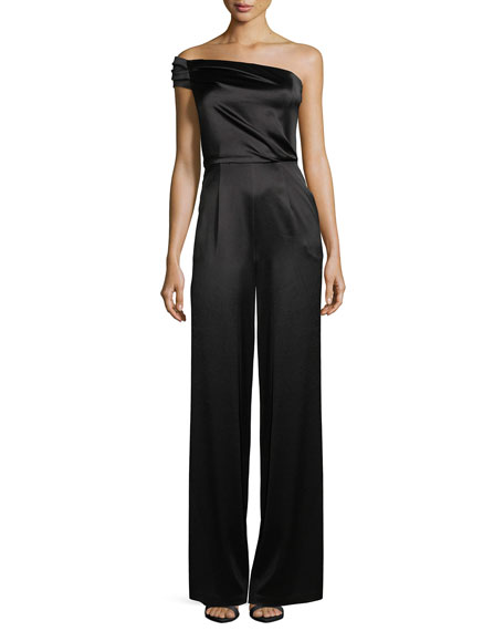 Black Halo Angelica One-Shoulder Wide-Leg Jumpsuit