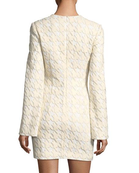 La Rue Houndstooth Split-Sleeve Cocktail Mini Dress