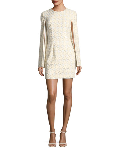 La Rue Houndstooth Split-Sleeve Cocktail Mini Dress