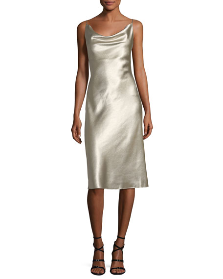 Black Halo Bessette Sleeveless Bias-Cut Slip Cocktail Dress