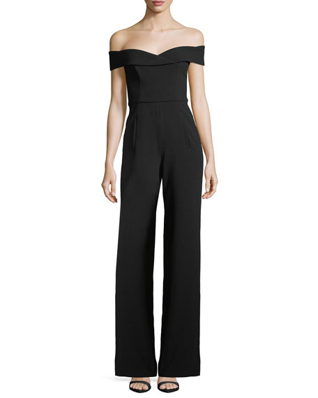 Black Halo Off-the-Shoulder Wide-Leg Crepe Jumpsuit