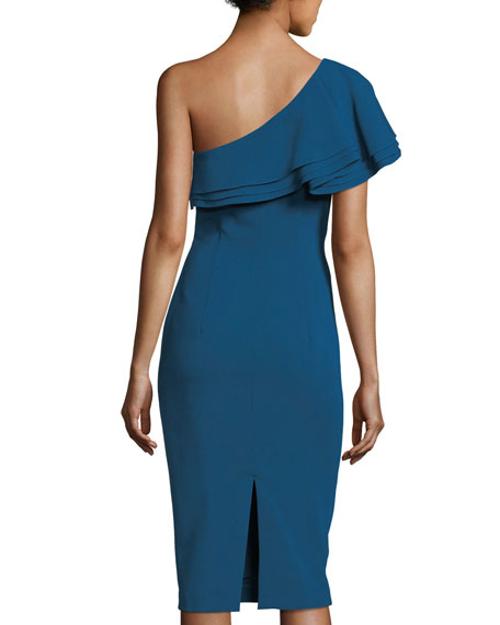Melbourne One-Shoulder Crepe Sheath Cocktail Dress