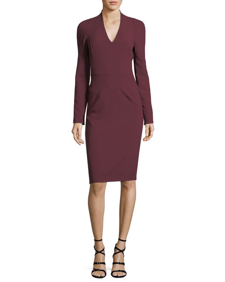 Black Halo Mindy V-Neck Long-Sleeve Crepe Sheath Cocktail
