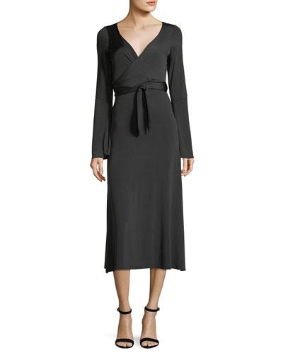 Lourdes Wrap-Front Long-Sleeve Jersey Cocktail Dress