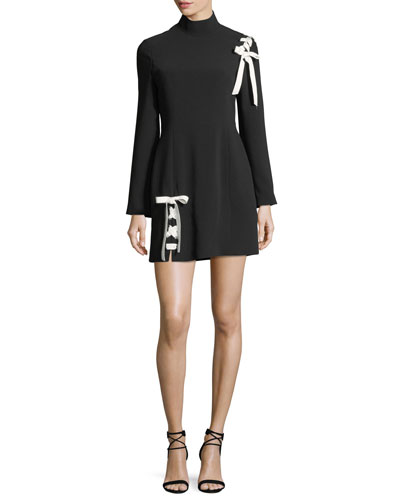 Izella Mock-Neck Long-Sleeve Mini Dress with Lace-Up Details