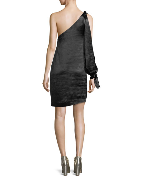 Nash One-Shoulder Straight Satin Dress
