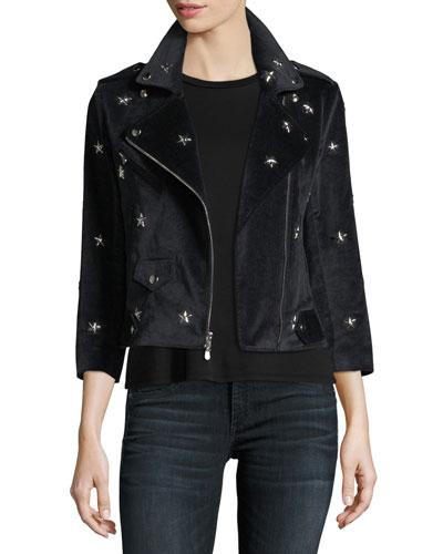 Wes Faux-Suede Moto Jacket w/ Star Studs