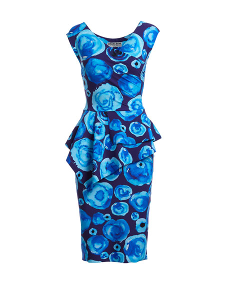 Tini Floral-Print Cap-Sleeve Sheath Dress