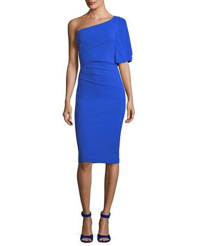 Romy Asymmetric One-Shoulder Cocktail Sheath Dress