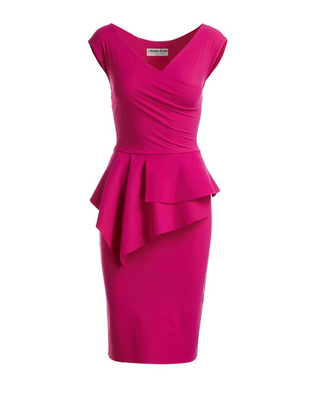 Tini Asymmetric Peplum Sheath Dress