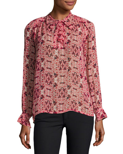 High-Neck Long-Sleeve Printed Top