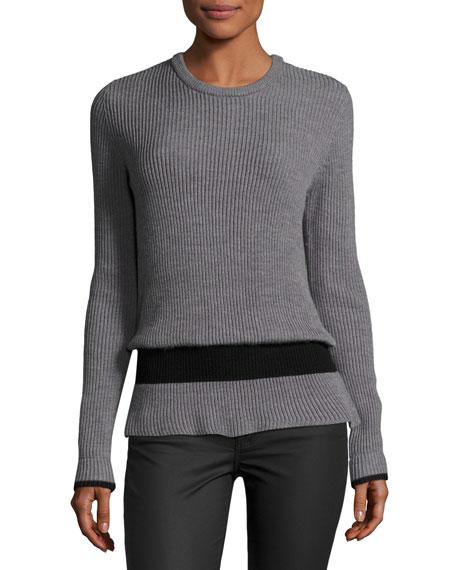 Ribbed Crewneck Long-Sleeve Wool Sweater