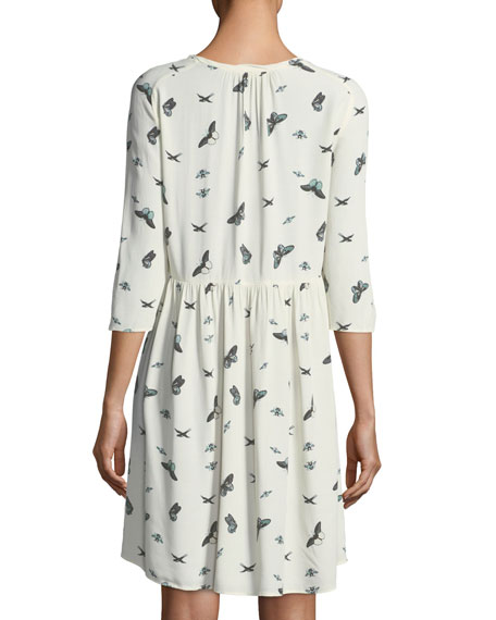 Butterfly-Print Crewneck 3/4-Sleeves Dress