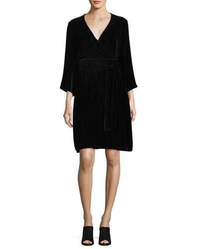 Velvet 3/4-Sleeve Wrap Dress, Plus Size