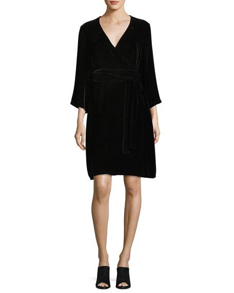 Eileen Fisher Velvet 3/4-Sleeve Wrap Dress, Plus Size | Neiman Marcus