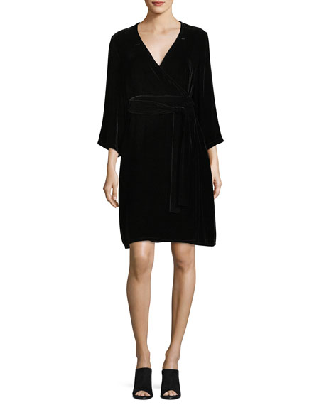 Velvet 3/4-Sleeve Wrap Dress