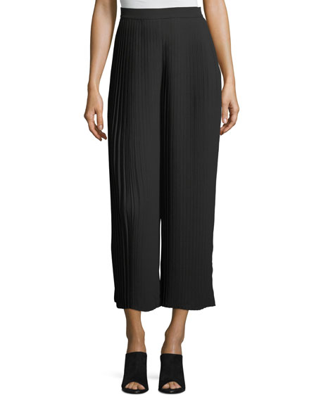 Eileen Fisher Knife-Pleated Wide-Leg Ankle Pants, Petite