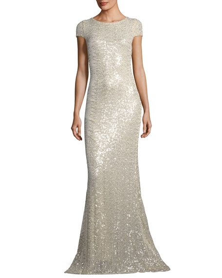 Badgley Mischka Collection Short-Sleeve Sequin Cowl-Back Evening