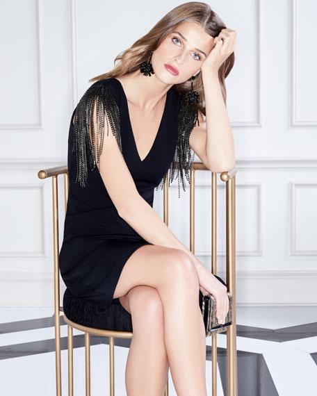Deep-V Beaded Sleeves Sheath Cocktail Dress