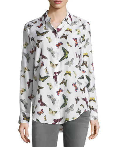 Essential Butterfly-Print Button-Front Shirt