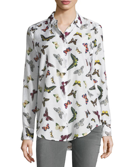 Equipment Essential Butterfly-Print Button-Front Shirt