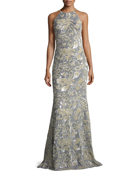 Badgley Mischka Collection Mermaid Sequin & Velvet Long