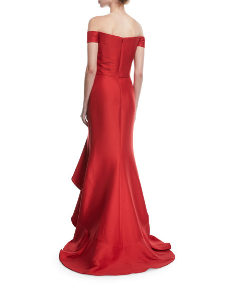 Off-the-Shoulder Ruffled Gown