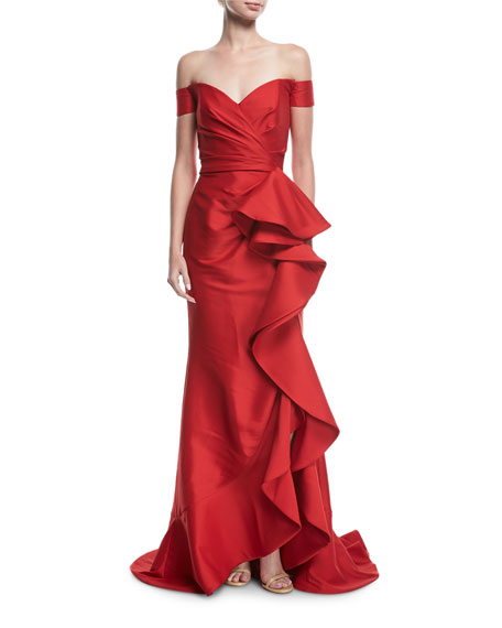 Badgley Mischka Collection Off-the-Shoulder Ruffled Gown