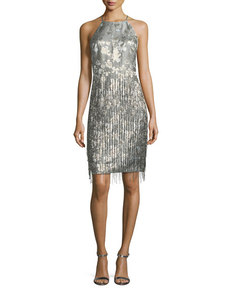 Badgley Mischka Collection Halter-Neck Sleeveless Fringe Cocktail