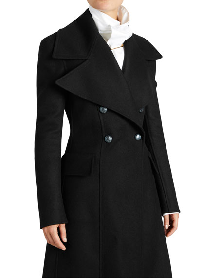 Felted Wool Double-Breasted Long Coat