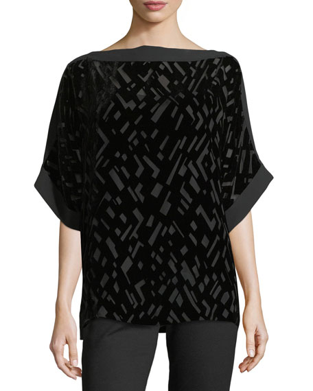 Eileen Fisher Geometric Burnout Velvet 3/4-Sleeve Top