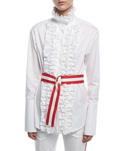 Live A Little Ruffled Shirt W/ Belt