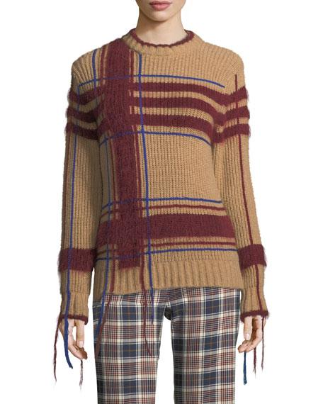 Eden Fuzzy Yarn-Trim Plaid Sweater
