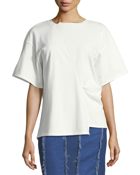 Sabrina Bias-Cut Cotton T-Shirt